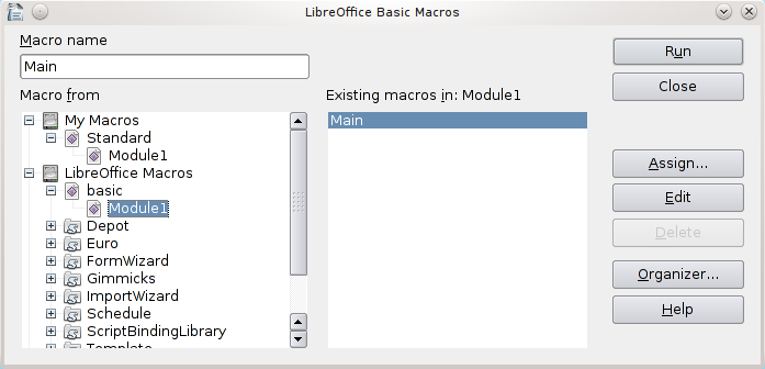 LibreOffice Basic Macros