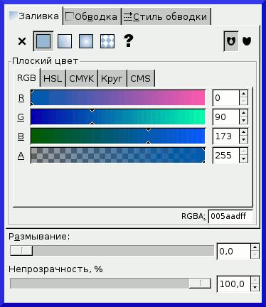Inkscape: окно Заливка и обводка