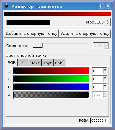 Inkscape: Окно Редактора градиентов