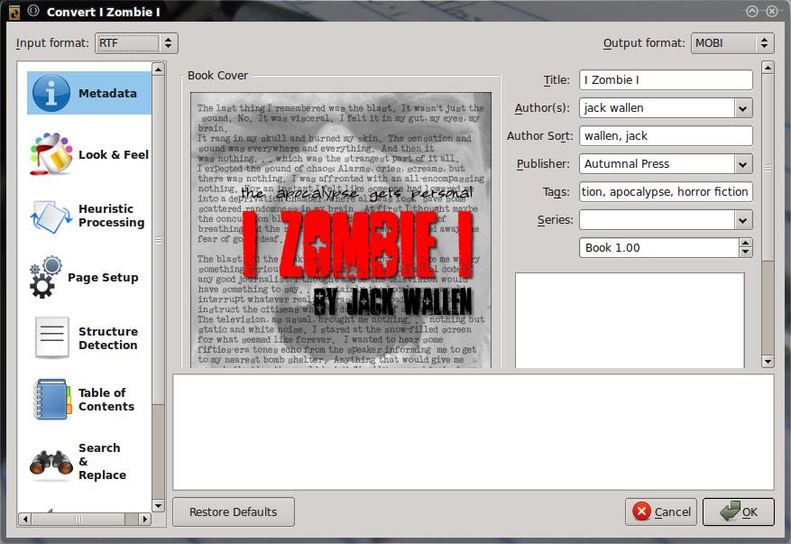 Calibre: Окно конвертирования