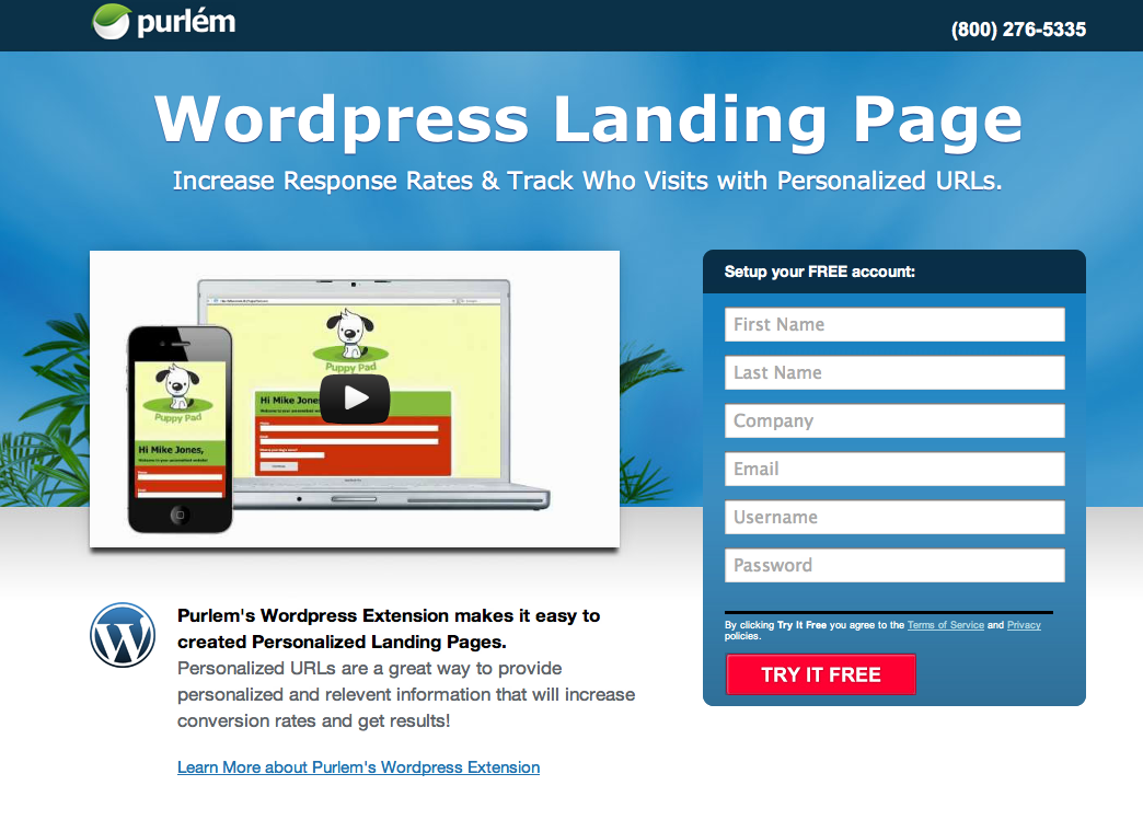 Landing page wordpress